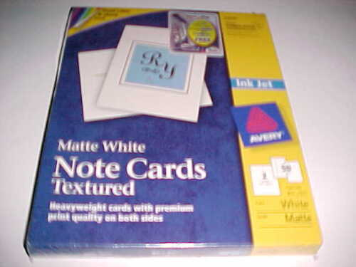 Avery 3379 Note Cards Textured Inkjet White - 50 Cards New