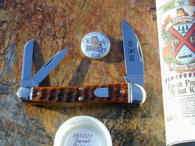 GREAT EASTERN GEC NORTHFIELD BURNT ORANGE BONE ENGLISH WHITTLER KNIFE MIT 380321