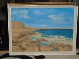 E Buchannan, Vintage Oil Painting Coastal Scene, Seascape