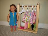 """Solid Wood Clothes Rack for American Girl or other 18"""" dolls"""