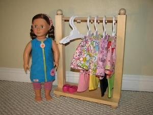 "Solid Wood Clothes Rack for American Girl or other 18"" dolls"