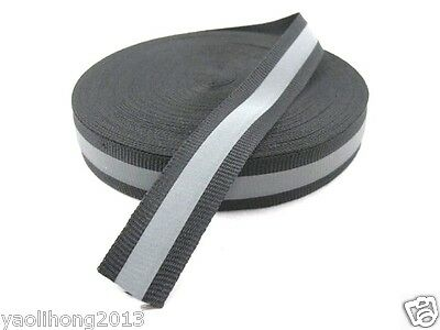 New Reflective Silver Gray Black Tape Sew On 1 Trim Fabric Material 3m 10 Feet
