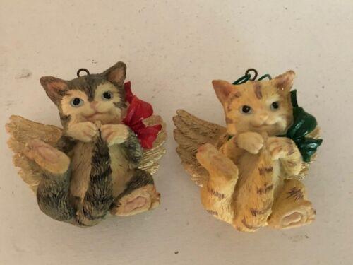 2 Christmas Angel Cat Ornaments Orange Tabby & Grey Vintage