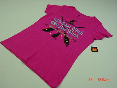 NWT Womens Halloween Themed Good Witch Bad Witch Glitter Shirt Pink Spooky Lady