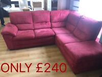 Large red fabric corner sofa-ONLY £240--delivery available--CALL TODAY!!!