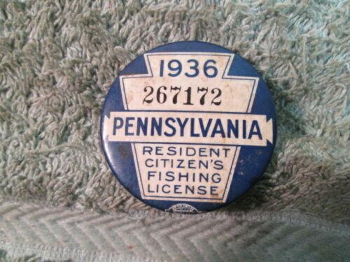 Vintage 1936 Pennsylvania Fishing License Button Pin