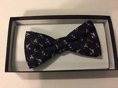 Mens Bow Tie - PARTY theme - black - New Years Eve - silk - NEW - New Years Eve Theme