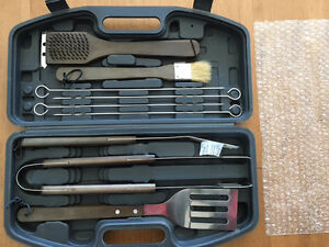 Brand New BBQ Tool Set in Compact Carry Box Stainless 10 Pieces