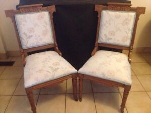 2 ANTIQUE EASTLAKE CARVED PARLOR CHAIRS