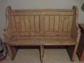 Vintage Rustic Pine Church Pew Monks Bench