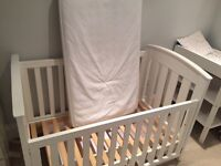 Boori country white wood cot, change table, drawer and mattress