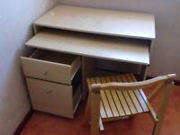 Storage Desk with Folding Chair