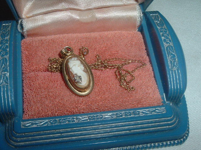 Vintage 12K Gold Filled Carved Shell Cameo w Diamond Pendant in Gift Box