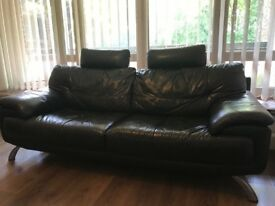 Black Leather Sofa 3 + 1 Seater DFS