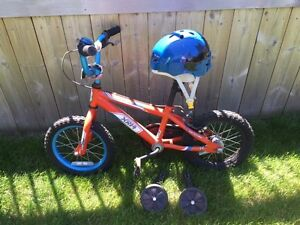 Boy's Bike with Helmet and Training Wheels