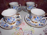 Tea Set Cups & Saucers x 4 Crown Staffordshire Blue & Gold Design Vintage
