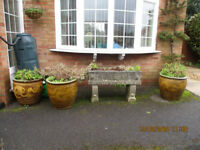 4 large antique Chinese garden planters