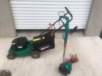 Qualcast 41 cm petrol push lawnmower + electric grass trimmer