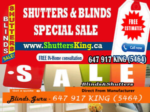 California Shutters &Zebra Blinds special sale
