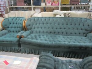 Green couch & chair - 7254O