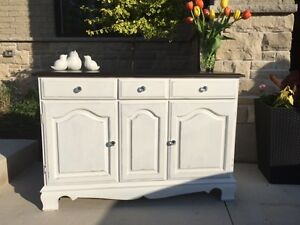 Classy White and Ebony Distressed Cabinet/Dry Bar w/Crystal Hand