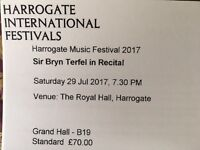 4x 2nd row tickets for Sir Bryn Terfel in recital at Harrogate International Music Festival 29 July