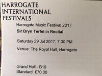 4x 2nd row tickets for Sir Bryn Terfel in recital at Harrogate International Music Festival 29 July
