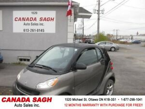 2011 SMART, 2 SETS OF TIRES, 82K, AUTO, 12 M WRTY+SAFETY$4690