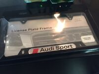 Real Carbon Fiber Audi Sport License Plate frame w screw caps