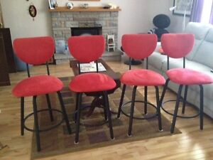 Bar Stools x 4 New Condition Canadian Made Suede / Swivel 24""