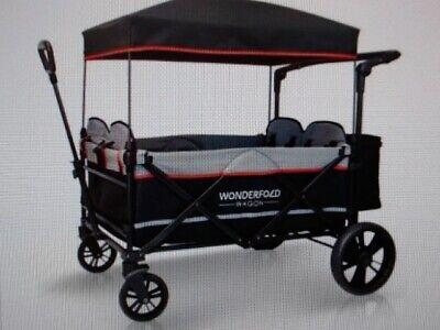 WonderFold Baby X4 Push Pull 4 Passenger Stroller Wagon - Black