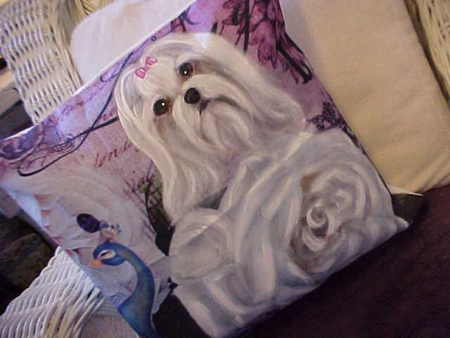 REDUCED! ,MALTESE AND ROSE HAND PAINTED PILLOW SUPER!