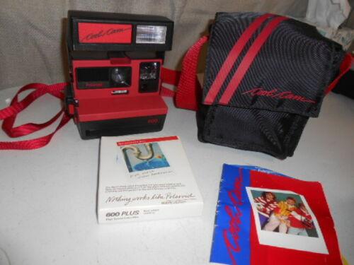 Vintage Red Polaroid 600 Cool Cam instant film camera with Case & Film