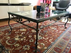 Iron/glass coffee table $140+ 2 end tables $45 each