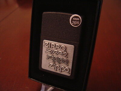 Zippo Pewter Emblem Black Crackle - ZIPPO PEWTER EMBLEM BLACK CRACKLE ZIPPO LIGHTER MINT IN BOX