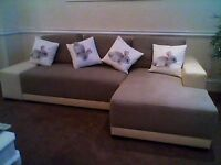 LOVELY NEW CORNER SOFA, CREAM LEATHER ARMS AND BEIGE /GREY FABRIC SEATING