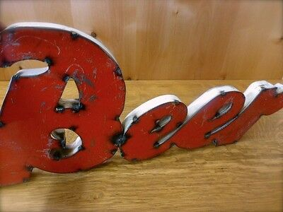 "VINTAGE-STYLE 27"" RED SCRAP METAL BEER SIGN bar man cave rustic wall art brew"