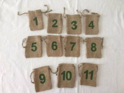 Rustic decorated lace and hessian jars wedding etc decorative hessian bags with table numbers weddingparty decorations junglespirit Image collections
