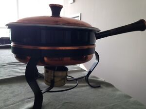 Charming 5 Piece Copper Chafing Dish/Pan with Wood Handle