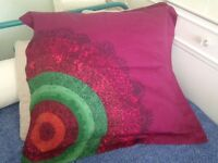 As new - Desigual cushion cover (RRP £50) + IKEA cushion inside - 65 x 65 cm