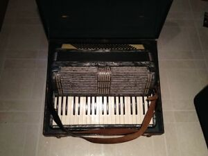 Collector's Vintage Hohner 120 Bass Accordion With Case