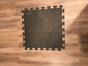 """GYM FLOORING RUBBER TILES 3/8"""" THICKNESS - 24"""" X 24"""" BLACK"""