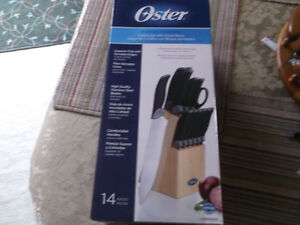 Oster  14 Piece Cultery Set with Wood block New Never open.