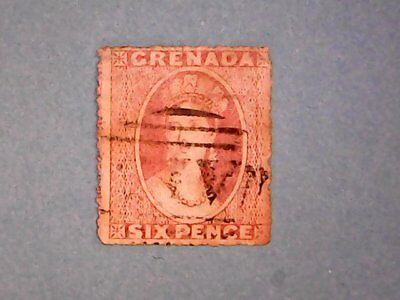 Grenada. QE2 1871 6d Vermilion. SG9. Wmk Small Star. P14 (rough). Used.