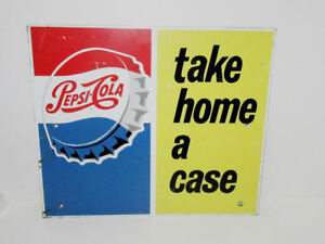 LOVELY VINTAGE PEPSI COLA DOUBLE SIDED PAINTED METAL SIGN