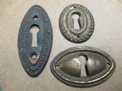 3 Vintage Lock Escutcheon Brass stamped Key Hole Cover Furniture Drawer Hardware