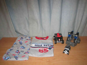 Boy's Pajama with Motorcycle Print, Size = 6 & Motorcycle toys