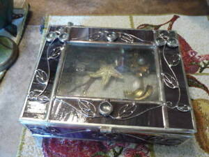 Collection Of 8  Vintage Brooches In A Large Stained Glass Box