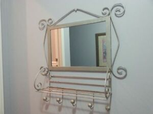 Silver wrought iron mirror and bench, ASKING $ 145  OBO