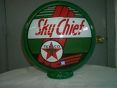 gas pump globe TEXACO SKY CHIEF  NEW repro. 2 GLASS LENSES in a plastic body
